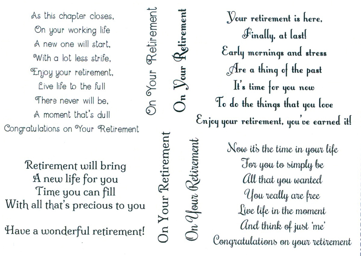 Retirement Verses Retirement Card Messages