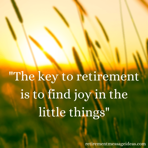 Find joy in little things retirement quote